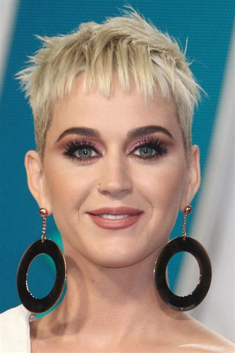 Katy Perry Hairstyles by Katy Perry Platinum Pixie Cut Hairstyle