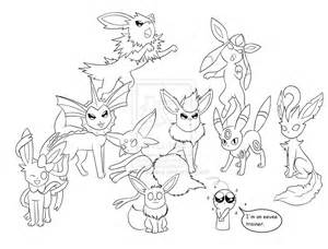 Eeveelutions Coloring Pages Sketch Page sketch template