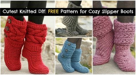 free knit slipper boot pattern cutest knitted diy free pattern for cozy slipper boots