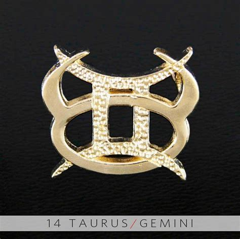 14 taurus and gemini gold unity pendant