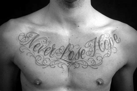 50 Chest Quote Tattoo Designs For Men Phrase Ink Ideas Chest Quote Tattoos For