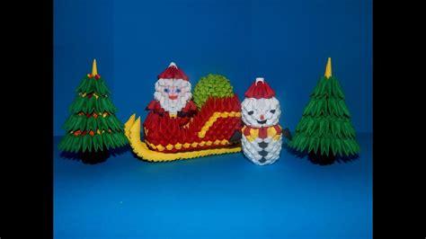 Origami 3d Santa Claus - 3d origami small santa claus sleigh tutorial diy paper