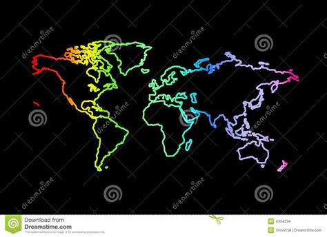 world in rainbow colors on black background stock images
