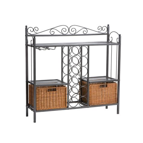 Wine Rack Storage by Celtic Grey Bakers Rack With Wine Storage Southern