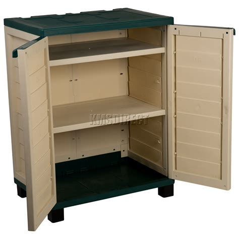 Outdoor Storage Cabinets With Shelves Starplast Outdoor Plastic Garden Utility Cabinet With 2 Shelves Storage Green Ebay