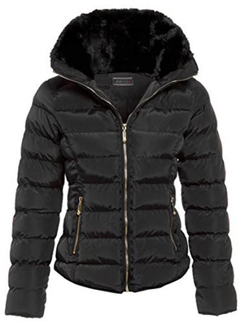 Winter Proof Your New Buys by New Womens Quilted Padded Faux Fur Collar Jacket Outerwear