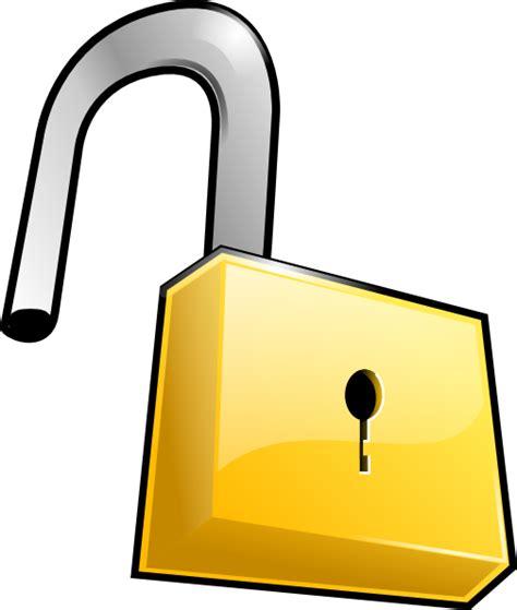 Gembok Gold Door open lock clip at clker vector clip royalty free domain