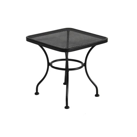 Black Patio Table Shop Garden Treasures Davenport 18 In X 18 In Black Wrought Iron Square Patio End Table At Lowes