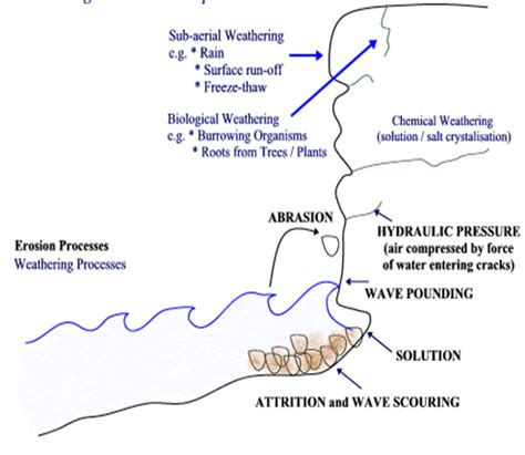 diagram of river erosion igcse geography edexcel 2 1 coastal processes