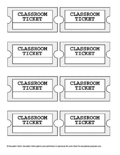 classroom exit ticket template ticket size template images