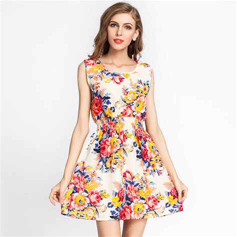 Korean Style Flower Dress 17 style summer casual flower print dress 2015 korean vest dresses plus size for