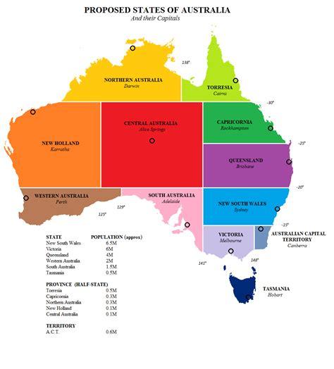 map of the states of australia proposed states of australia imaginarymaps