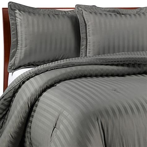 wamsutta 174 damask stripe comforter set in grey