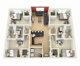 Small House Floor Plans 50 four 4 bedroom apartment house plans architecture