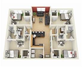 Designing Your Apartment 50 four 4 bedroom apartment house plans architecture