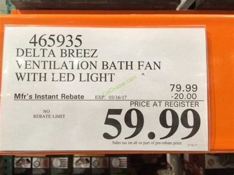 costco bathroom fan delta breez vfb80hled2 ventilation bath fan with led light