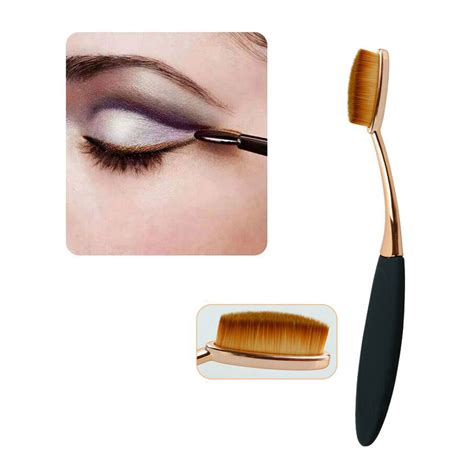 Kuas Oval Blending Brush Kuas Kosmetik Make Up Oval Brush Wajah 10 Pcs Black Gold