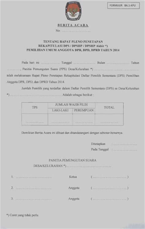 ppk rejotangan contoh berita acara rekap dps oleh pps