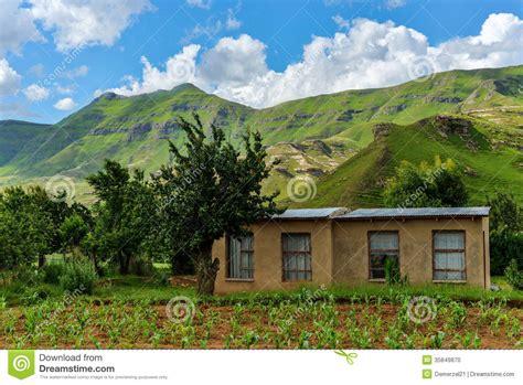 Small Farmhouse House Plans Small Farmhouse In Lesotho Stock Photo Image 35849870