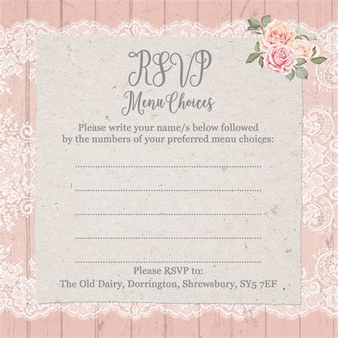 Wedding Invitation Menu Card Wording