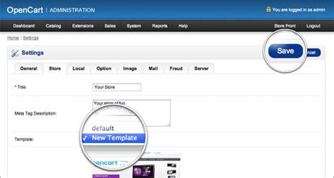 stron biz opencart change template
