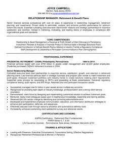 vendor management resume sle retirement plan administrator sle resume ic package