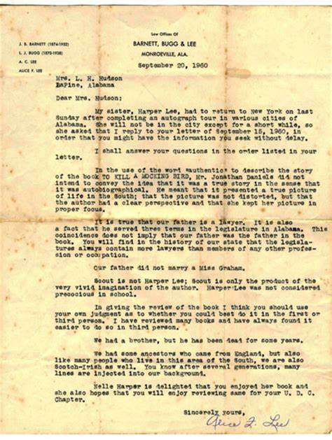 Business Letter To Kill A Mockingbird Booktryst Talks About Quot Mockingbird Quot In Exceptionally Scarce Letter