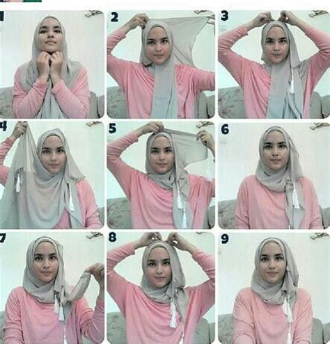tutorial hijab pashmina monochrome simple easy hijab tutorial easy hijab tutorial pinterest