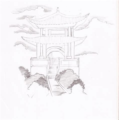 japanese temple sketch by willx03 on deviantart