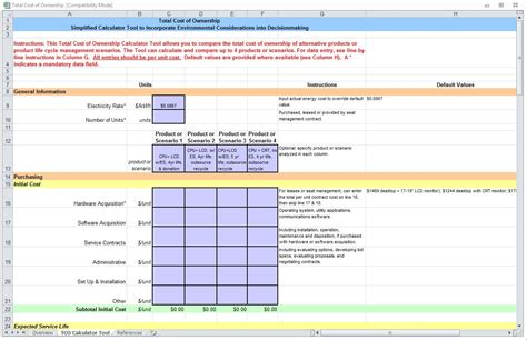 total cost of ownership calculator total cost of ownership total cost of ownership template