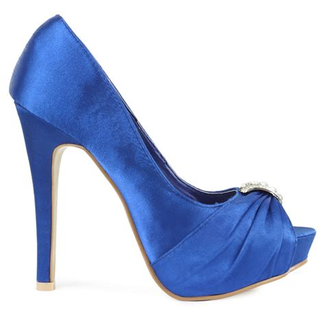 blue satin high heels new blue satin womens diamante platform bridal high