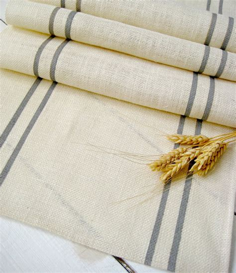 gray burlap table runner burlap table runner with gray stripes rustic table