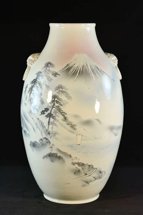 Large Porcelain Vase by Large Japanese Studio Porcelain Vase With Mt Fuji
