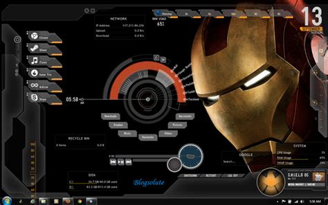firefox iron man themes iron man rainmeter theme for windows 7 8 and xp free download