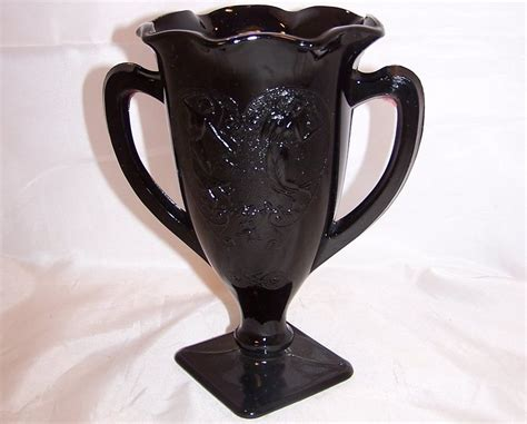 Antique Black Glass Vase by Black Amethyst Glass Loving Cup Vase With Design Vintage