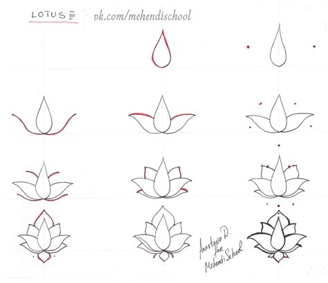 tattoo designs step by step how to draw classic indian mehndi lotus easy tutorial