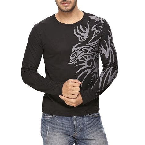 mens casual slim fit long sleeve tattoo design t shirt