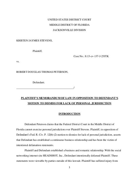 Florida Middle District Court Search Motion To Dismiss