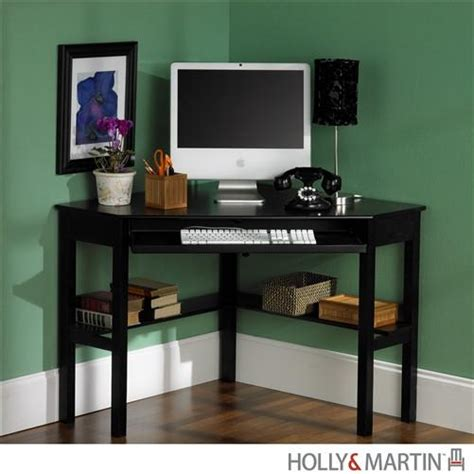 Compact Modern Black Corner Computer Desk With Keyboard Compact Corner Computer Desk