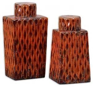 Burnt Orange Home Decor Www Essentialsinside Raisa Decorative Containers Burnt Orange Ceramic Se Contemporary