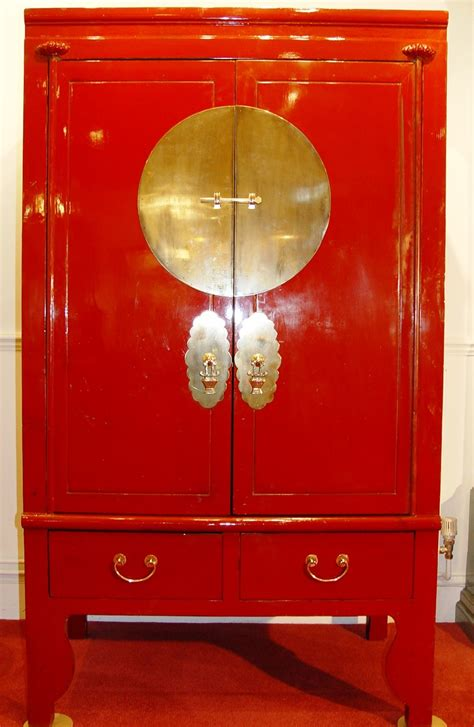 chinese red lacquer wedding cabinet sumptuous wardrobe