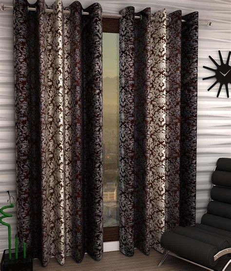 ethnic curtains home sizzler brown ethnic polyester window curtain set of 4 damask brown buy home sizzler