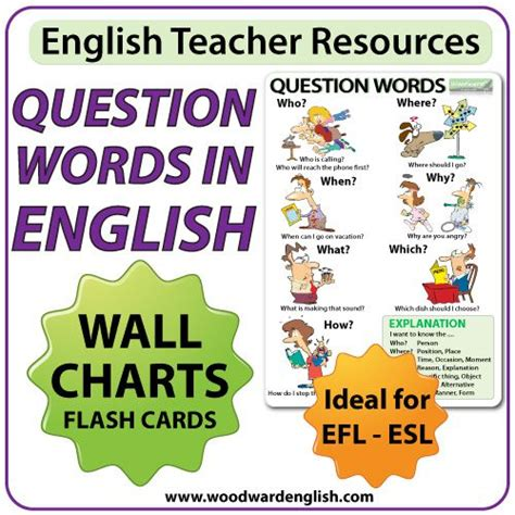 wh questions printable flash cards question words in english wall charts and flash cards