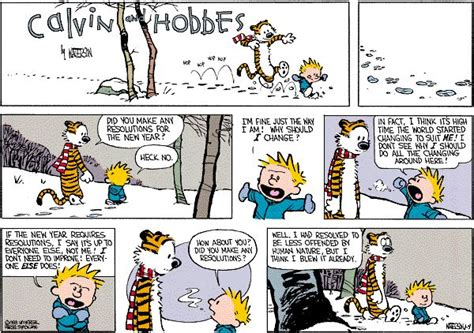 calvin and hobbes new years resolution the new year funnies calvin and hobbes new