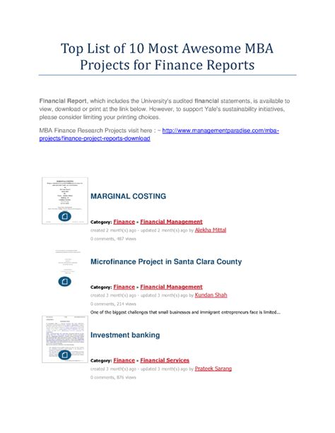Mba Finance Project Titles Pdf by Top List Of 10 Most Awesome Mba Projects For Finance