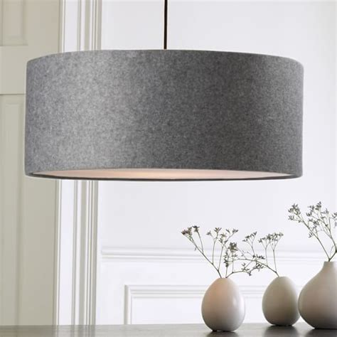 Short Drum Pendant Gray Felt West Elm Dining Room Drum Light