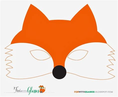 fox template free printable fox mask fox with glasses