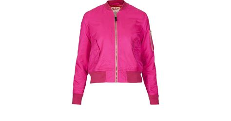 Newyork Bomber Jacket Pink 1 lyst topshop bomber jacket by schott nyc in pink