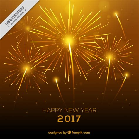 bright yellow background with fireworks for new year s eve