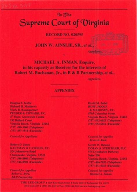 Alabama Court Records Virginia Supreme Court Records Volume 265 Virginia